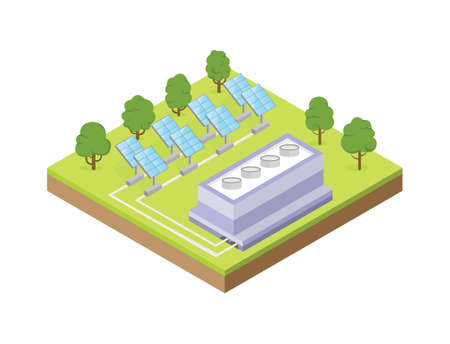 Electricity station with mirror plates. Vector illustration of isometric buildings. Vettoriali