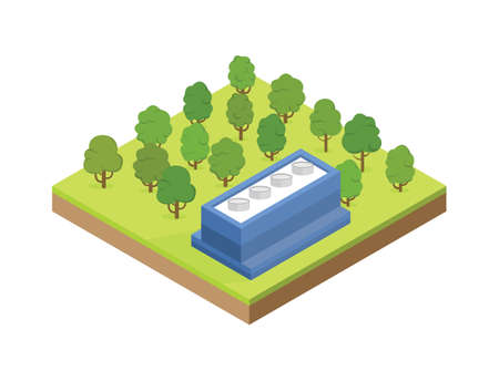 Isometric building of blue factory on glade. Isolated Vector illustration. Vettoriali