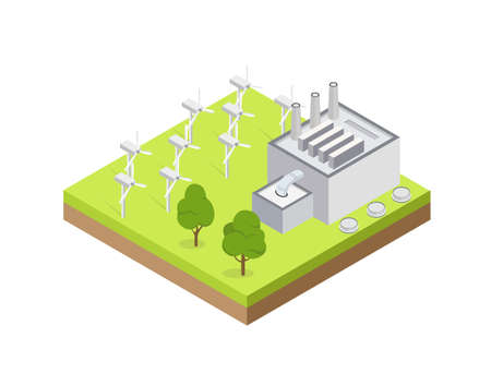 Model of gray wind power plant. Isolated Vector illustration of isometric buildings.