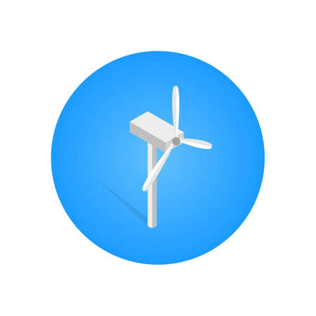 White wind turbine of an isometric building vector illustration, isolated on blue circular design Stock Illustratie