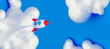 Startup of business. Spaceship rocket flying in the white clouds on the blue sky. 3d render illustration. Stockfoto