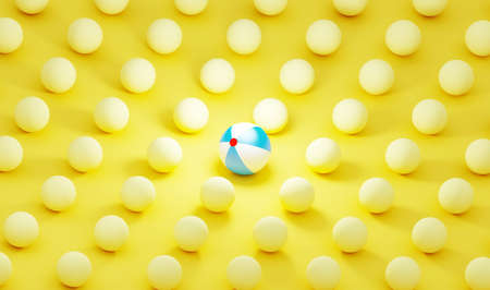 Sphere leader on the yellow background. 3d render illustration of many kids balls. Team work with management setup.