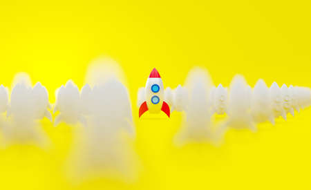 Spaceship on the yellow background with camera bokeh direction. Successful creative concept of startup. Team work with target management setup. 3d render rocket illustration. Archivio Fotografico