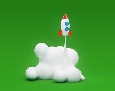 Successful concept of business startup. Spaceship launching on the green background. 3d render illustration. Stockfoto