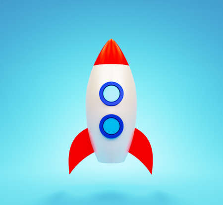 Spaceship front view on the blue background. Successful concept of startup. 3d render illustration.