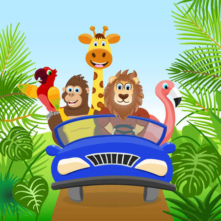 Five animals travel on the road in the green forest. Cartoon characters moving and drive the blue car.