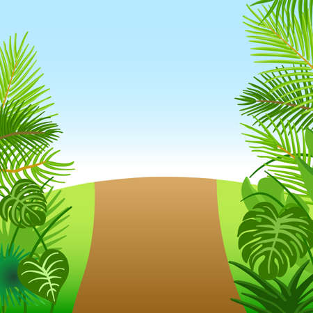 Tropical green forest with road and trees. Floral vector elements. Illusztráció