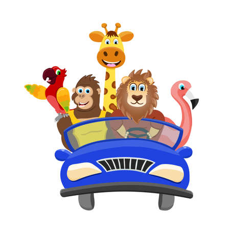 Five isolated animals on the white background. Cartoon characters moving and drive the blue car. Vector Illustration.