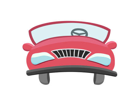 City vehicle icon vector illustration. Isolated urban red car in the front view.