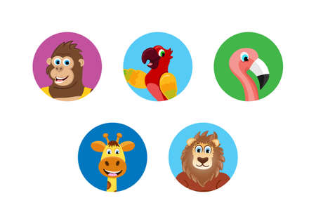 Five isolated animals icons on the white background. Colorful avatar characters. Vector Illustration.