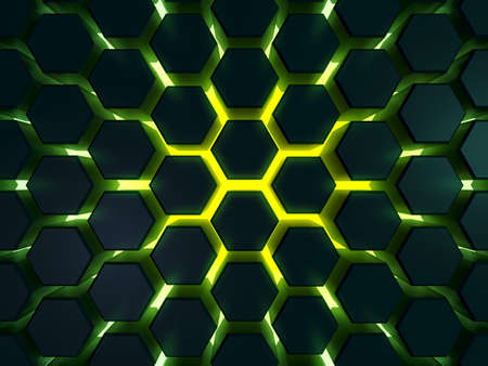 Green power futuristic surface hexagon pattern. 3D Rendering. Energy cell of server processor.