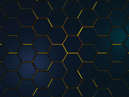 Dark blue futuristic surface hexagon pattern with yellow rays. 3D Rendering.