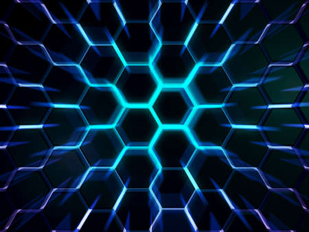 Electric futuristic surface hexagon pattern with blue rays. 3D Rendering. Energy cell of processor.