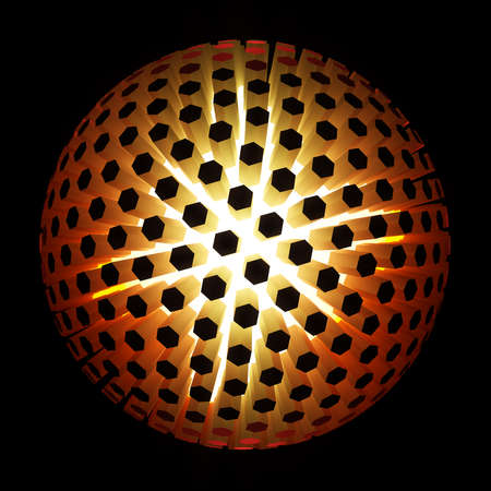 Futuristic spherical sun surface of hexagon pattern. 3D Rendering. Energy cell of cyber circle.