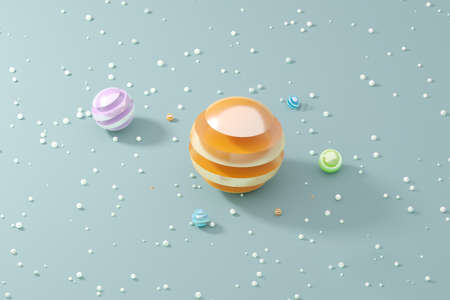 Sweet candy planets candy with crumbs for landings, cover, banners and branding designs on the grey backgrounds. Abstract 3D rendering Illustration.