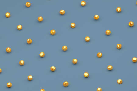 Minimalistic scene of grey background with gold geometric piece stones for landing pages, cover and branding designs. Abstract 3D rendering Illustration.