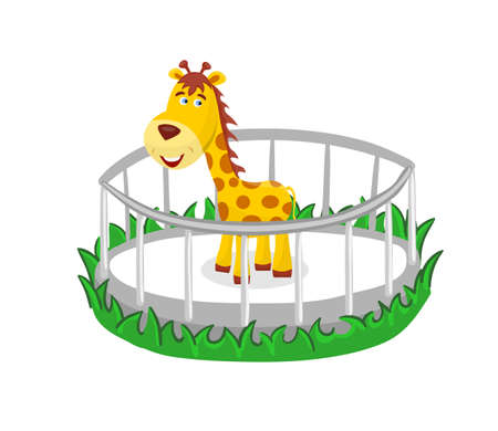 Beautiful cartoon giraffe behind the fence. Cute animal in the zoo. Vector Illustration.