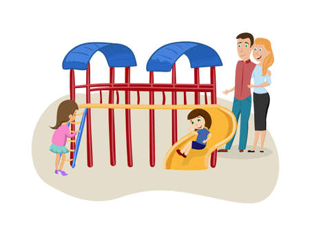 Little children playing in the playground with their parents. Kindergarten for kids. Vector illustration.