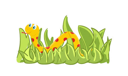 Beautiful cartoon snake in the grass. Cute reptile in the zoo. Vector Illustration.