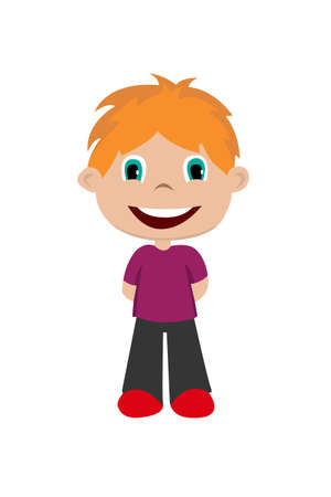 Vector illustration of smiling young boy on the white background.