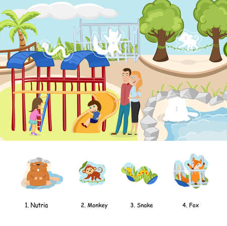 Animals sticker characters for activity book with children playground. Vector illustration.