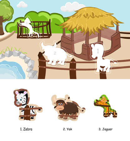 Animals sticker for children book. Vector zoo illustration page.