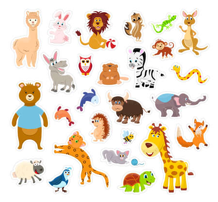Sticker zoo animals isolated on the white background with cutting line. Vector illustration page.