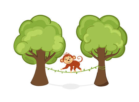 Beautiful cartoon monkey walks the liana on the tree. Cute animal in the tropical forest. Vector Illustration.