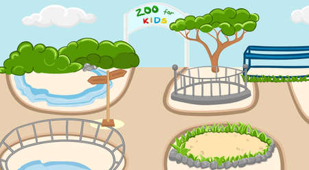 Coloring zoo background with trees, bush and clouds. Children activity book page. Vector illustration.