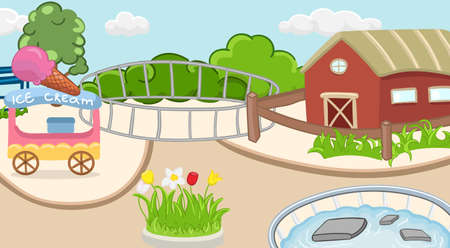 Coloring zoo background with ice cream, bush, flowers and pool. Children activity book page. Vector illustration.