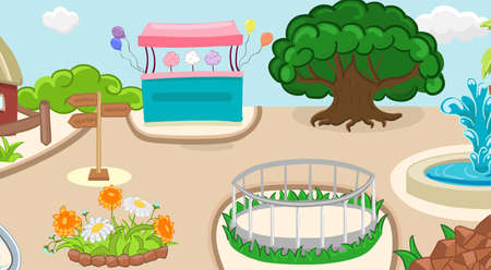 Coloring zoo background with cotton candy, guide, flowers. Children activity book page. Vector illustration.