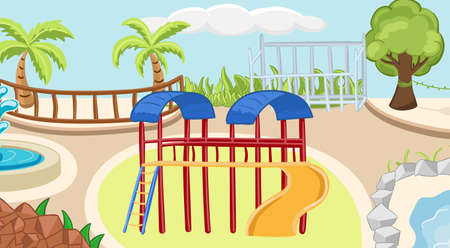 Coloring zoo background with playground, hill, palm. Children activity book page. Vector illustration. Stock Illustratie