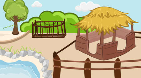 Coloring zoo background with pool, trees and barn. Children activity book page. Vector illustration.