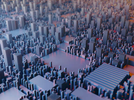Futuristic electronic city. Motherboard system CPU with semiconductors on board. Abstract 3D render Illustration.
