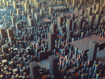 Daylight futuristic city. Perspective view with bokeh. Abstract 3D render Illustration. Stockfoto