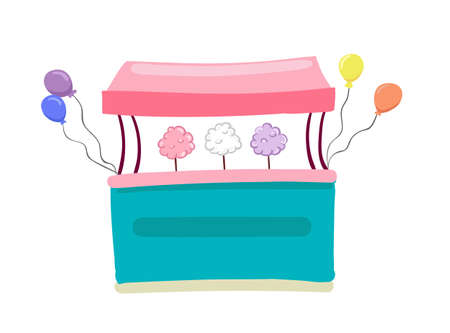 Flat vector bench with sweet cotton wool and colorful balloons isolated on the white background.
