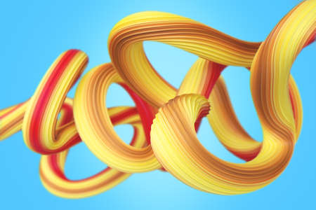Geometric yellow wires 3D rendering Illustration. Abstract stroke background for cover and branding designs.