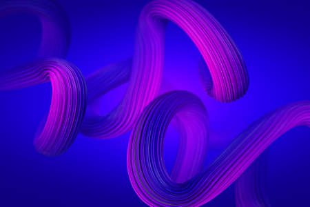 Geometric purple wires 3D rendering Illustration. Abstract stroke background for cover and branding designs banners and cover journal. Stock fotó