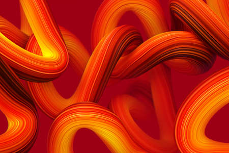 Shine orange nodes 3D rendering Illustration. Abstract network stroke background for cover and journal books.