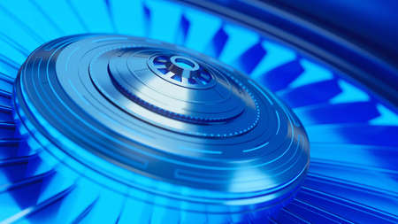 Futuristic computer fan for cooling processors. Abstract bright blue backlight. 3d rendering illustration.