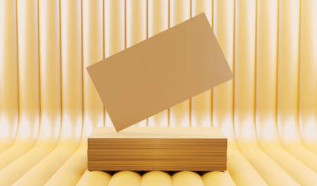 Creative gold business card on the bright background. 3D render illustration. Stockfoto