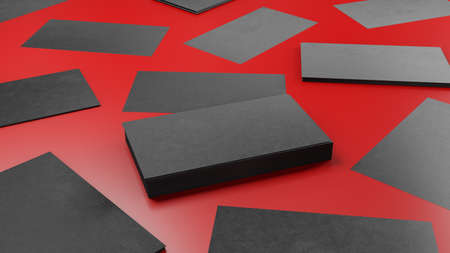 Creative back business card on the clean red background. 3D render illustration.