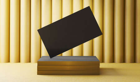 Creative black business card on the gold background. 3D render illustration. Stockfoto