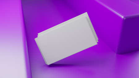 Creative business card on the purple background. 3D render illustration. Stockfoto