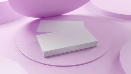 Creative business card on the clean pink background. 3D render illustration.
