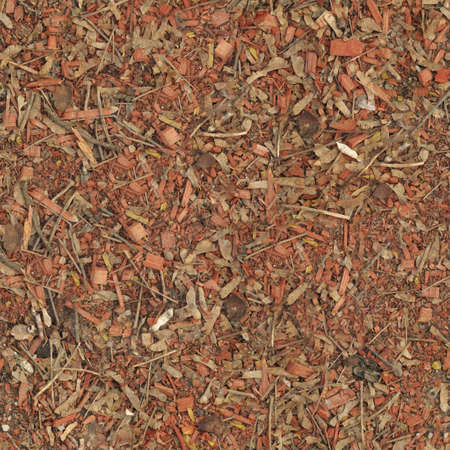 Red shallow wood shavings, seamless texture top view.