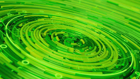 Creative green round pipes with a Hud elements. 3d render illustration.