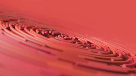 Abstract red round pipes with camera bokeh. 3d render illustration.