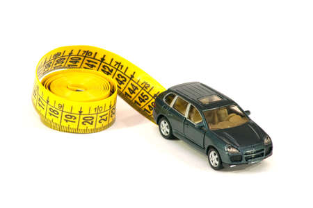 mileage: Car and roulette-line symbolizing the mileage between maintenance Stock Photo