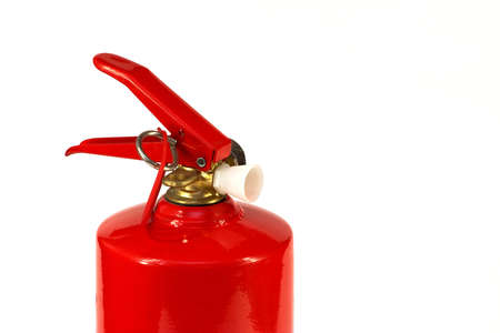 fire extinguishing: A red fire extinguisher on a white background. Hand tools for fire extinguishing